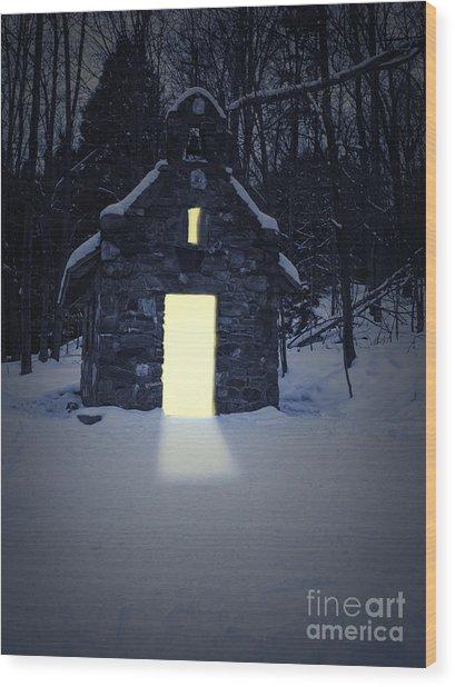 Snowy Chapel At Night Wood Print