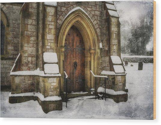 Snowy Church Door Wood Print