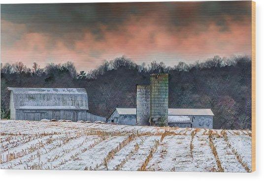 Snowy Cornfield Wood Print