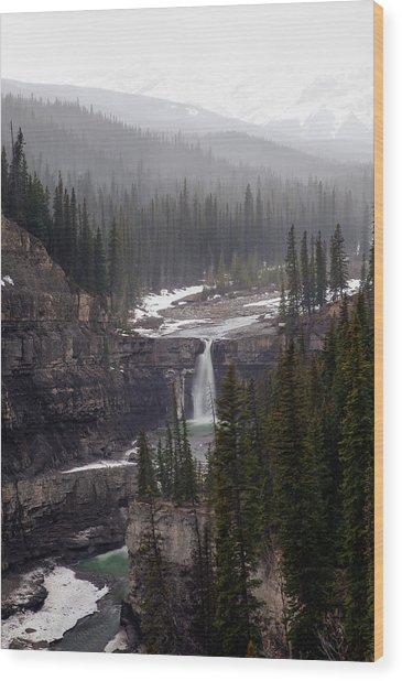 Snowy Crescent Falls Wood Print