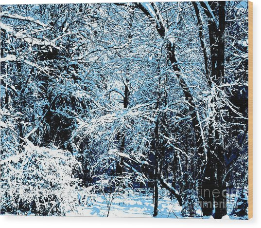 Snowy Day Landscape Wood Print