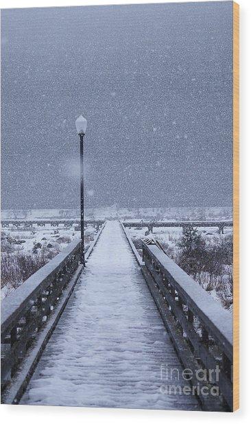 Snowy Day On The Boardwalk Wood Print
