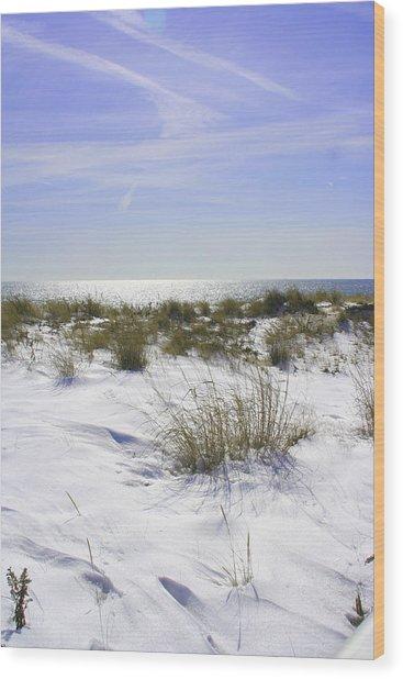 Snowy Dunes Wood Print