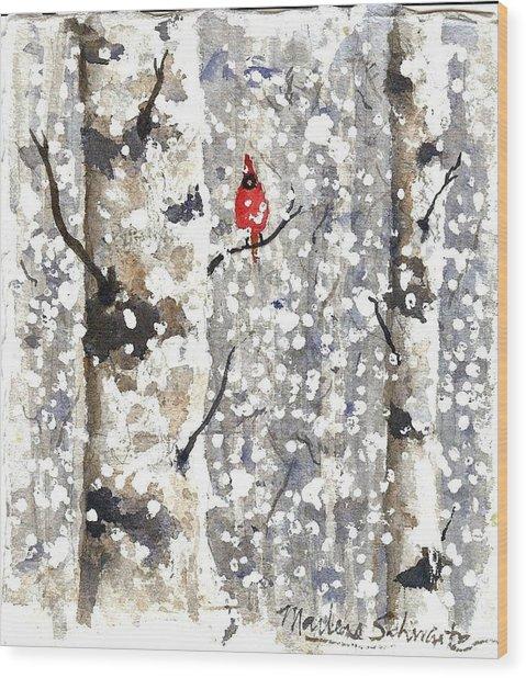 Snowy Hello Wood Print