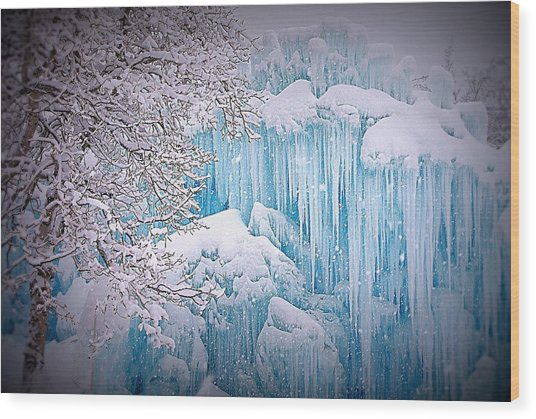Snowy Ice Castle Wood Print