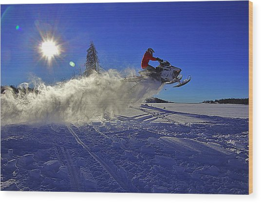 Snowy Launch Wood Print