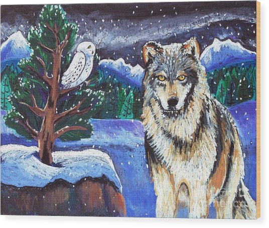 Snowy Night Wolf Wood Print by Harriet Peck Taylor
