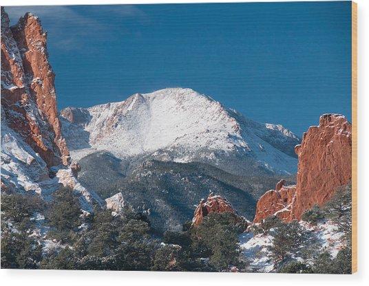 Snowy Pikes Peak Wood Print