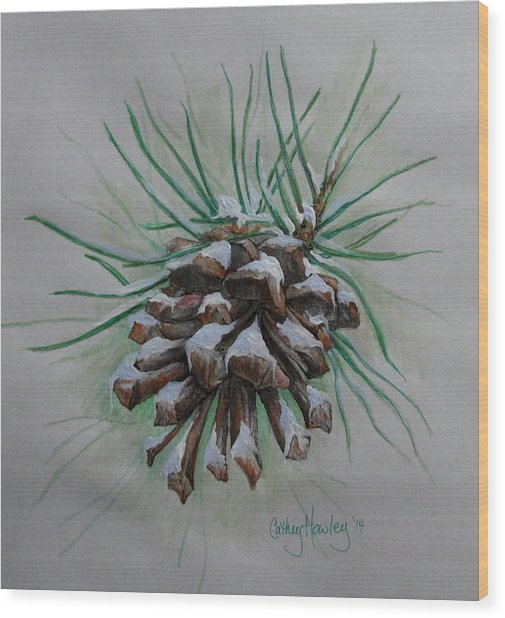 Snowy Pinecone Wood Print