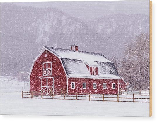 Snowy Red Barn Wood Print