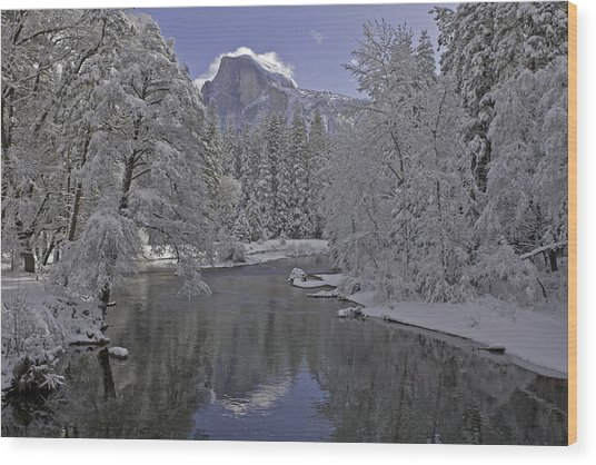 Snowy River And Half Dome Wood Print