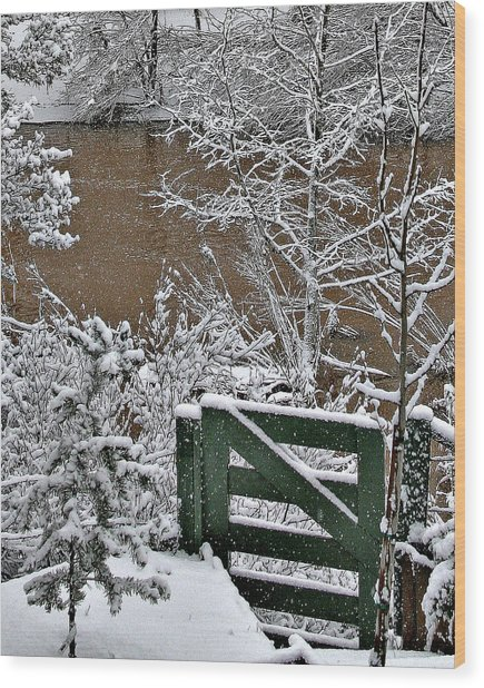 Snowy River Gate Wood Print