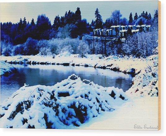 Snowy Sammamish River Bothell Washington Wood Print