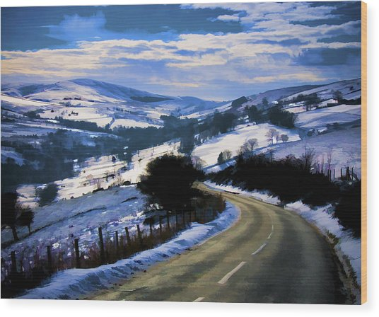 Snowy Scene And Rural Road Wood Print