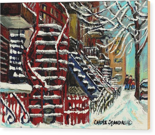 Snowy Steps The Red Staircase In Winter In Verdun Montreal Paintings City Scene Art Carole Spandau Wood Print