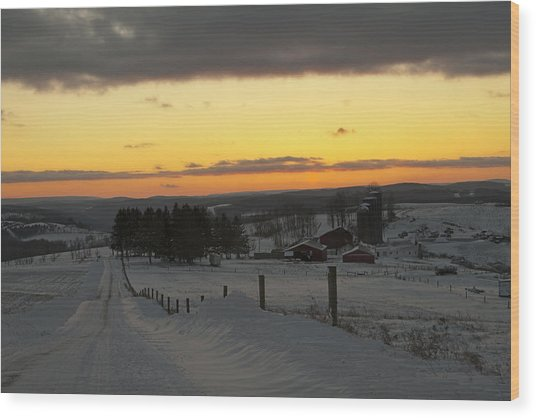 Snowy Pennsylvania Sunset Wood Print