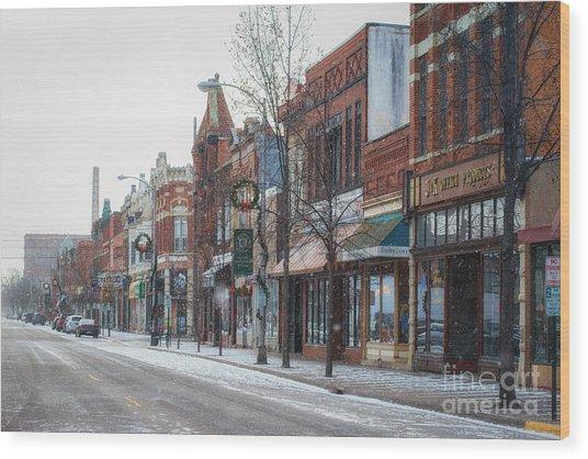 Snowy Third Street Downtown Winona II Wood Print