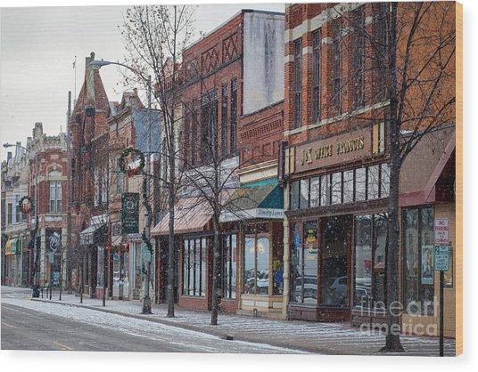 Snowy Third Street Downtown Winona IIi Wood Print