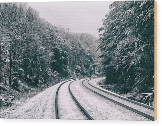 Snowy Travel Wood Print
