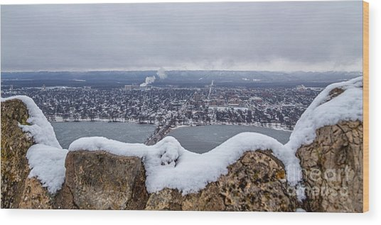 Wood Print featuring the photograph Snowy View From Garvin Heights Winona by Kari Yearous