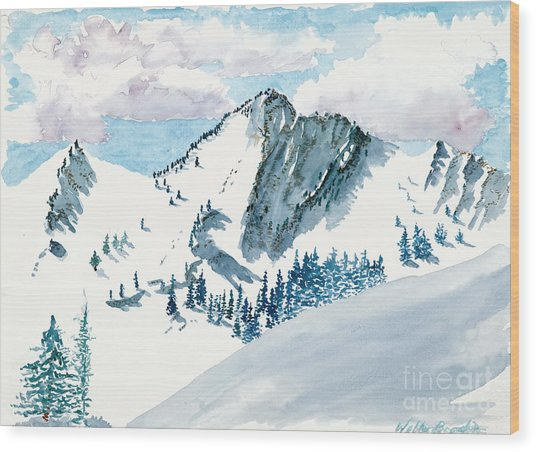Snowy Wasatch Peak Wood Print