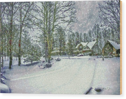 Snowy Winter's Day Wood Print by Barry Jones