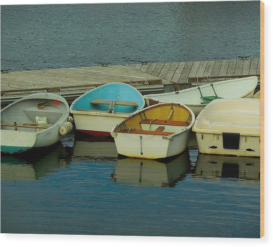 Snuggle Boats Wood Print