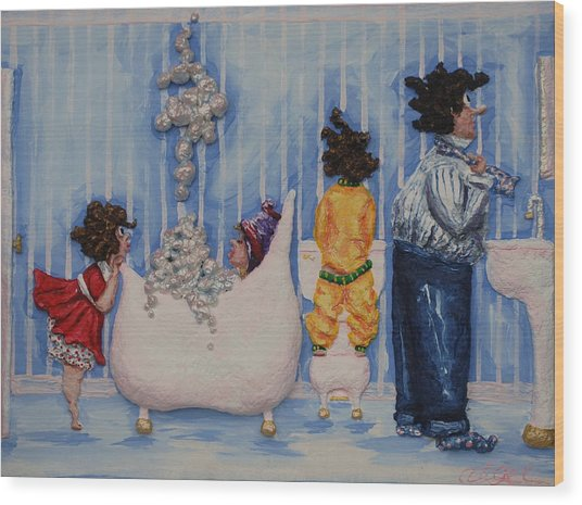 So Much For Mummy's Quiet Time Wood Print by Alison  Galvan