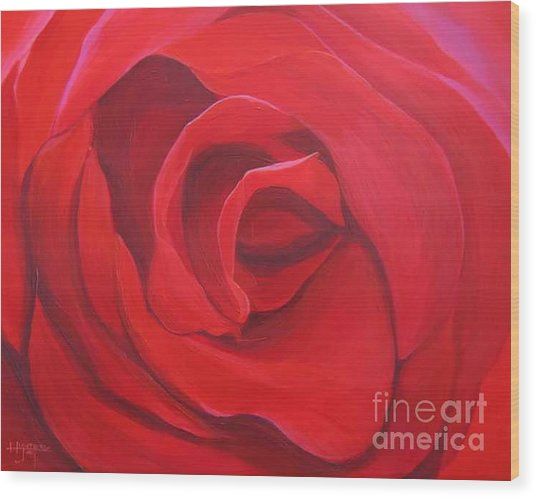 So Red The Rose Wood Print