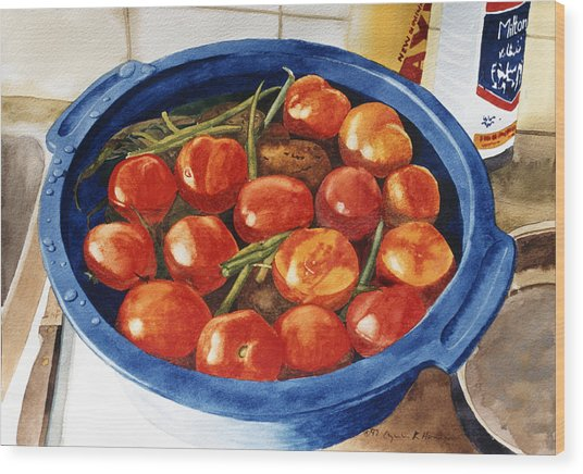 Soaking Tomatoes Wood Print