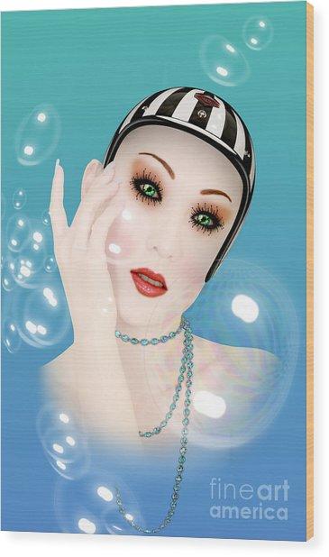 Soap Bubble Woman  Wood Print