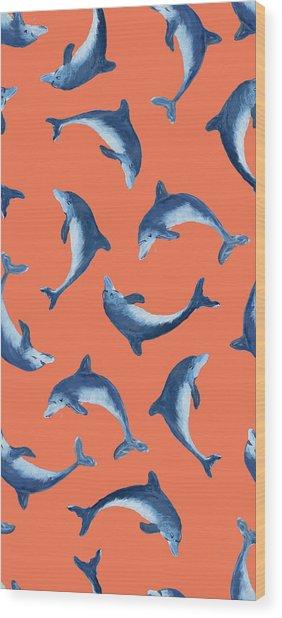 Soaring Dolphin Pattern Wood Print