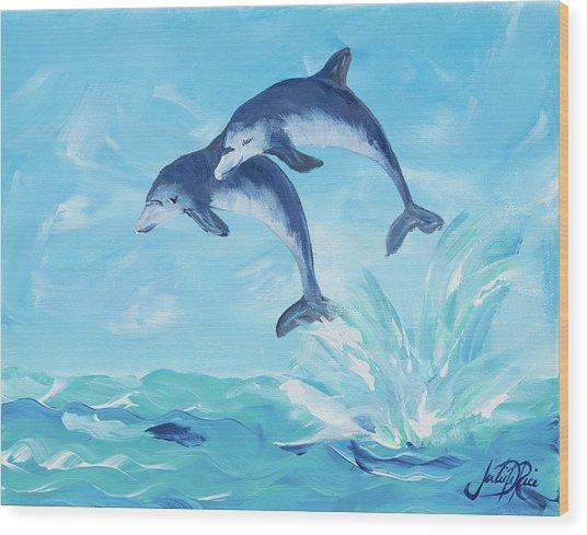 Soaring Dolphins I Wood Print