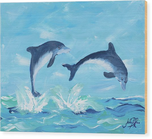 Soaring Dolphins II Wood Print