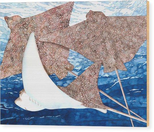 Soaring Eagle Rays Wood Print