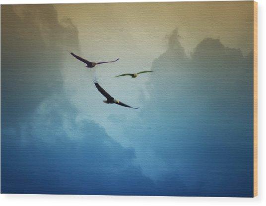 Soaring Eagles Wood Print