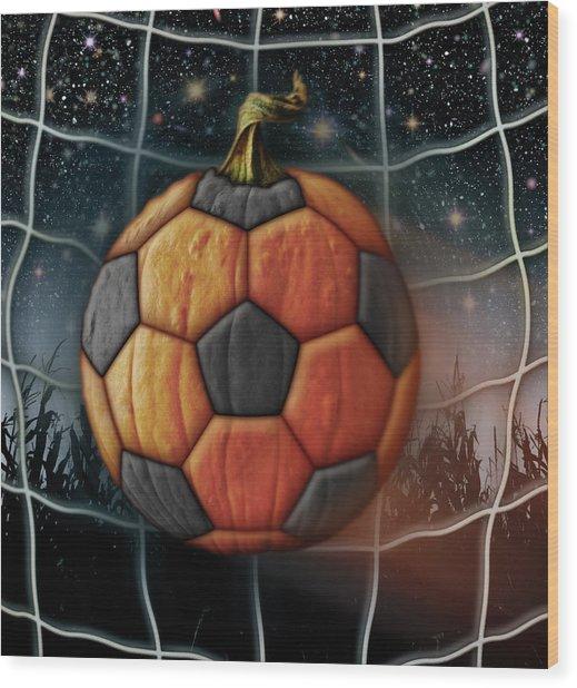 Soccer Ball Pumpkin Wood Print