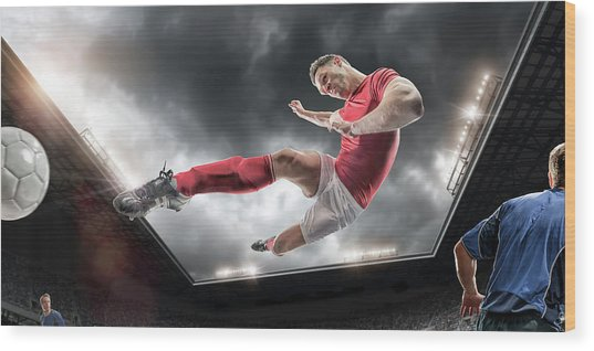Soccer Kick Wood Print by Peepo