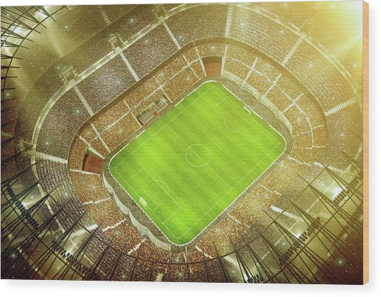 Soccer Stadium Bird Eye View Wood Print by Dmytro Aksonov