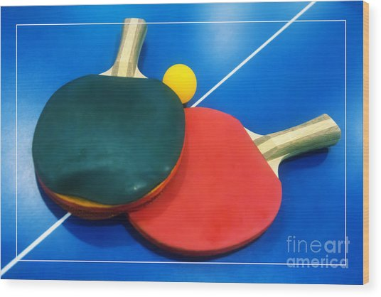 Soft Dreamy Ping-pong Bats Table Tennis Paddles Rackets On Blue Wood Print
