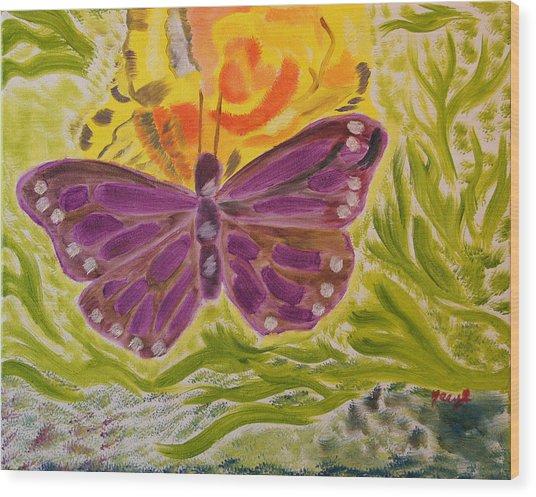 Soft Flutters Wood Print
