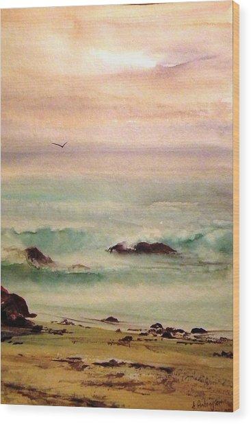 Soft Light Penguin Beach Wood Print by Evelyn Antonysen