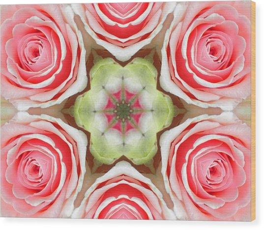 Soft Pink Rose Mandala Wood Print