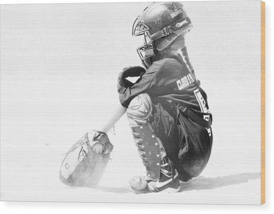 Softball Catcher Wood Print