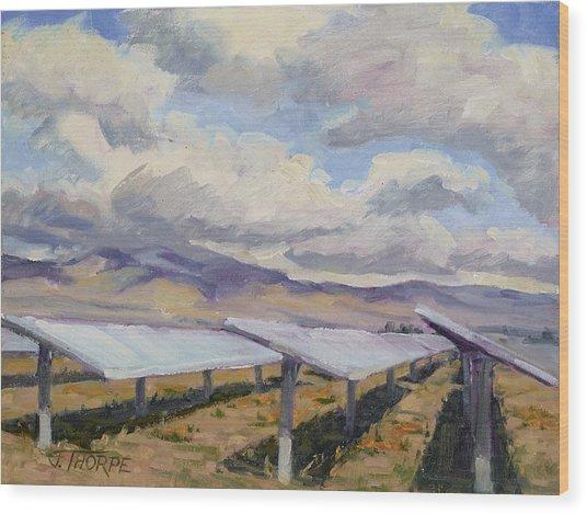 Solar Farm Poppies Wood Print