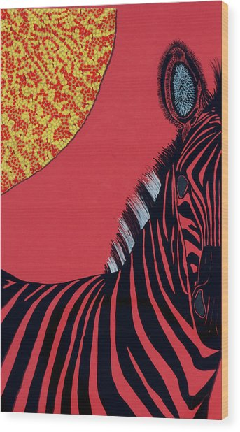 Solar Red Zebra Wood Print by Patrick OLeary