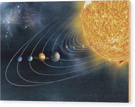 Solar System Wood Print