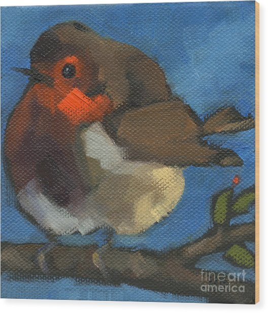 Sold - Rock'n Baby Robin Wood Print