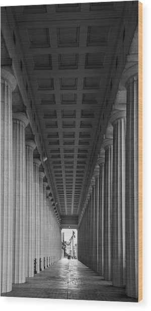 Soldier Field Colonnade Chicago B W B W Wood Print