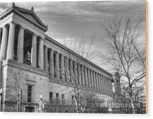 Soldier Field In Black And White Wood Print